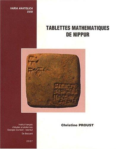 Tablettes mathematiques de Nippur Reconstitution du cursus scolaire
