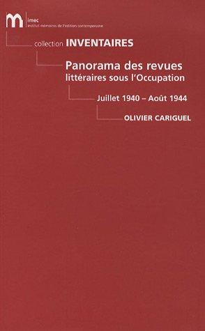 9782908295849: panorama des revues littéraires sous l'occupation