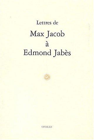 9782908799637: Lettres de Max Jacob à Edmond Jabès