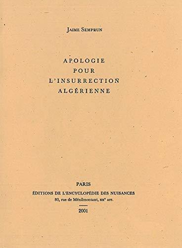9782910386177: Apologie pour l'insurrection algerienne