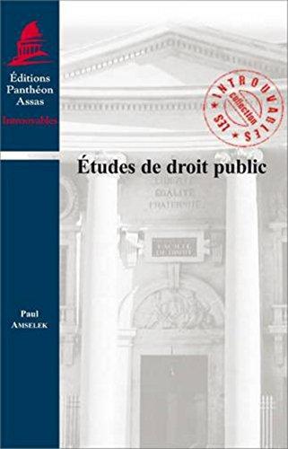 Etudes de droit public (French Edition)