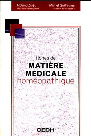 Fiche de Matiere Medicale Homeopatique: Roland Zissu & Michel Guillaume