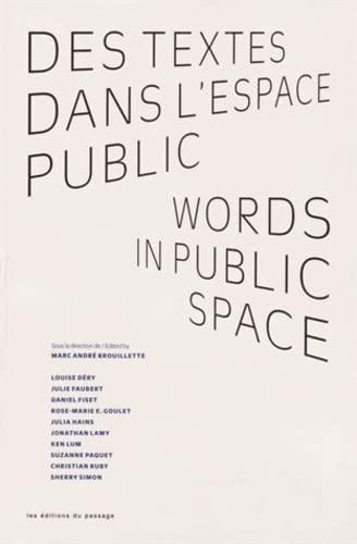9782922892987: Des Textes Dans l'Espace Public