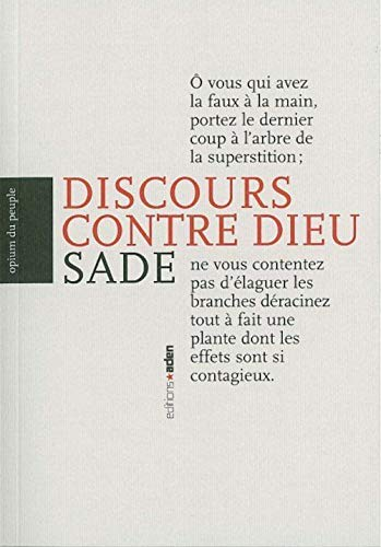 9782930402680: Discours contre Dieu (French Edition)