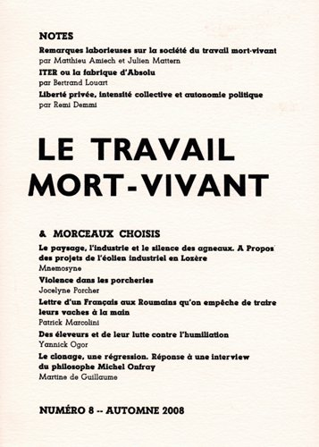 9782952778039: Notes & Morceaux Choisis N 8 le Travail Mort-Vivant (French Edition)