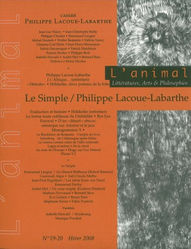 9782953183412: Animal N 19-20 - Lacoue-Labarthe/le Simple- (French Edition)