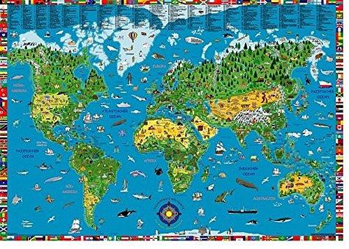 9783000113970: Illustrierte Weltkarte für Kinder und Erwachsene. Poster