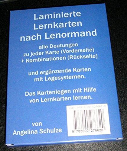 9783000276620: Laminierte Lernkarten nach Lenormand: alle Deutungen zu jeder Karte (Vorderseite) + Kombinationen (Rückseite) und ergänzende Karten mit Lesesystemen