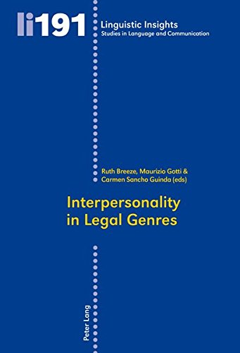9783034315241: Interpersonality in Legal Genres (Linguistic Insights)