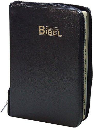 9783037710005: Neue Luther Bibel, schwarz, Fibroleder mit Goldschnitt, Griffregister, Reißverschluss