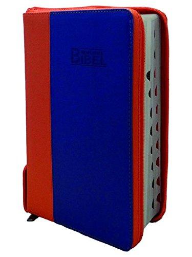 9783037710531: NeueLuther Bibel: Luther 2009 - Softcover PU 2Tone orange/blau - Silberschnitt, Griffregister, Reißverschluss, Red-Letter-Ausgabe