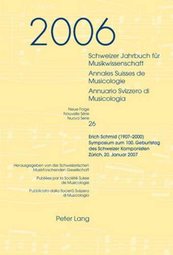 Schweizer Jahrbuch für Musikwissenschaft- Annales Suisses de Musicologie- Annuario Svizzero di ...