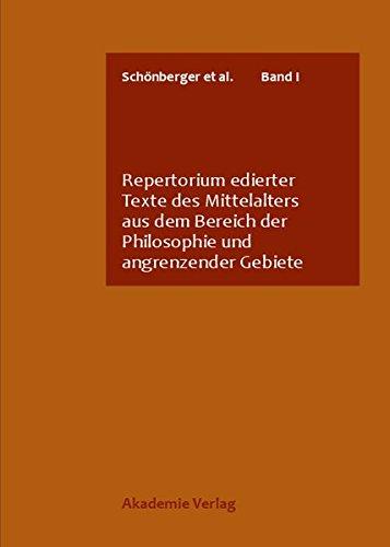 9783050033426: Repertorium edierter Texte des Mittelalters aus dem Bereich der Philosophie und angrenzender Gebiete