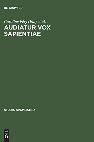 9783050036724: Audiatur Vox Sapientiae (Studia Grammatica)