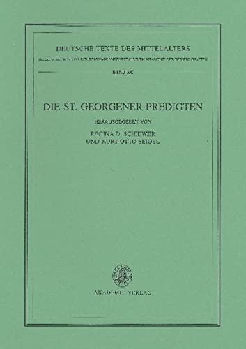 Die St. Georgener Predigten: Regina D. Schiewer