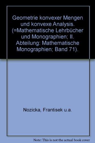 9783055003356: Geometrie konvexer Mengen und konvexe Analysis