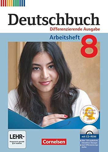 9783060626823: Deutschbuch 8. Schuljahr. Arbeitsheft mit Lösungen und Übungs-CD-ROM. Differenzierende Ausgabe