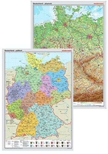 9783075020159: Posterkarten Geographie: Posterkartenset Deutschland: Posterkarte Deutschland physisch + Posterkarte Deutschland politisch