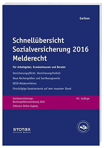 Schnellübersicht Sozialversicherung 2016 Melderecht: Manfred Geiken
