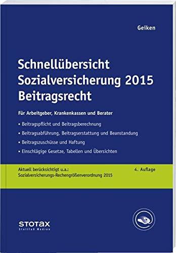 9783083145035: Schnellübersicht Sozialversicherung 2015 Beitragsrecht