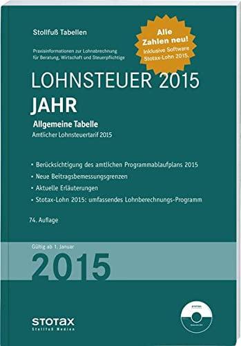 Stollfuß Tabellen Lohnsteuer 2015 Jahr - Sonderausgabe Dezember