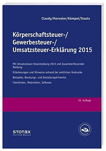 Körperschaftsteuer-, Gewerbesteuer-, Umsatzsteuer-Erklärung 2015: Björn Claudy