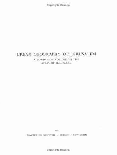 Atlas of Jerusalem Vol 1 Only: AMIRAN, David H.K., et al [editor]