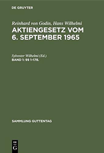9783110037845: Godin/Wilhelmi: Aktiengesetz Cplt Sgu Ae 4a (German Edition)
