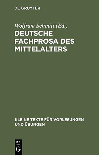 9783110038019: Title: Deutsche Fachprosa Des Mittelalters Ausgewahlte Te