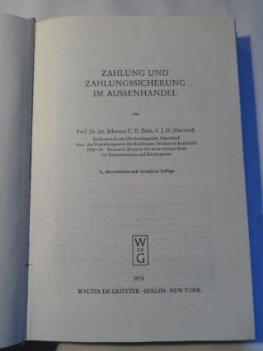 Zahlung und Zahlungssicherung im Aussenhandel. von: Zahn, Johannes C.