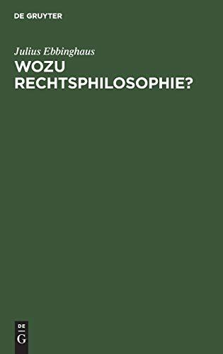 9783110041842: Ebbinghaus: Wozu Rechtsphilo-sophie?
