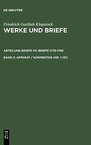 9783110089325: Apparat / Kommentar (Nr. 1-131) (Klopstock, Friedrich G.: Werke Und Briefe) (German Edition)