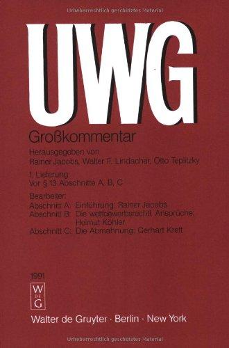 9783110101492: UWG: Grosskommentar