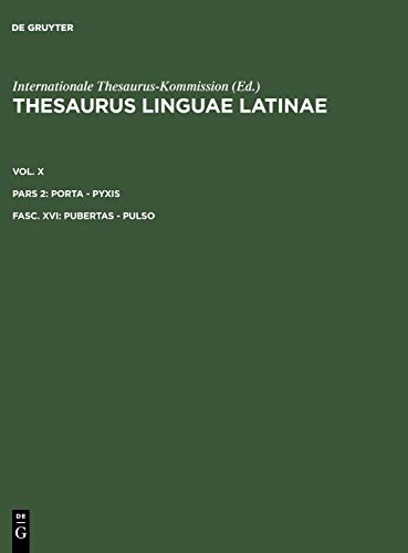 9783110203721: Thesaurus Linguae Latinae: Pubertas-Pulso (Latin Edition)