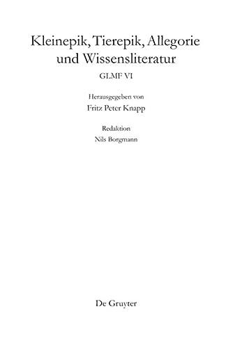 9783110229769: Kleinepik, Tierepik, Allegorie Und Wissensliteratur (German Edition)