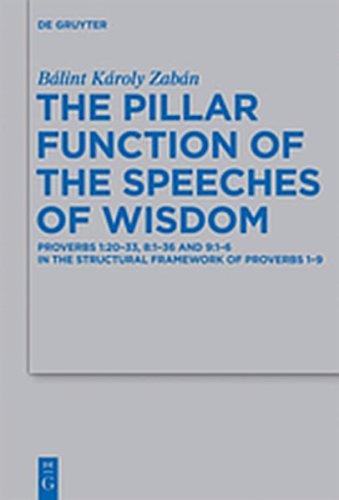 9783110275506: The Pillar Function of the Speeches of Wisdom: Proverbs 1:20-33, 8:1-36 and 9:1-6 in the Structural Framework of Proverbs 1-9 (Beihefte zur Zeitschrift fur die Alttestamentliche Wissenschaft)