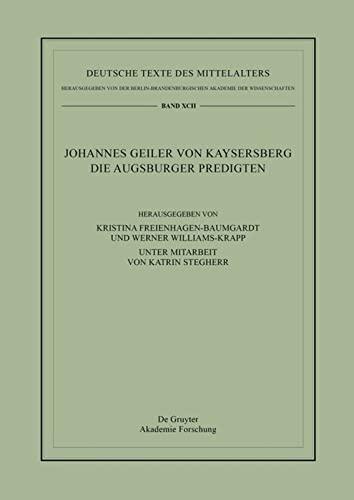 9783110417968: Die Augsburger Predigten (Deutsche Texte Des Mittelalters)