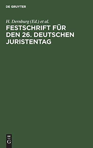 9783111156019: Festschrift für den 26. Deutschen Juristentag