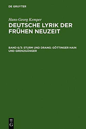 9783111826875: Sturm Und Drang: G Ttinger Hain Und Grenzg Nger