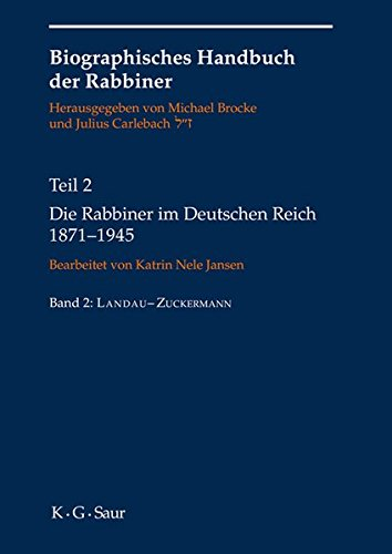 9783119166638: Die Rabbiner Im Deutschen Reich 1871-1945 (German Edition)
