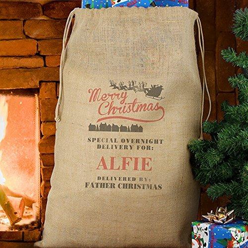 9783122215996: Personalised Merry Christmas Hessian Sack