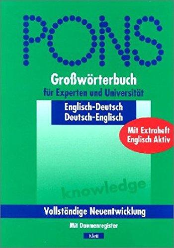 9783125171695: Pons Groworterbuch Fur Experten Und Universitat Mit Daumenregister