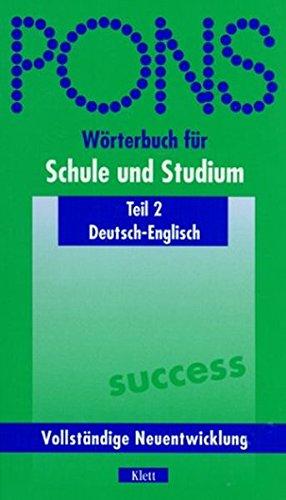 9783125175020: PONS W�rterbuch f�r Schule und Studium, Deutsch-Englisch