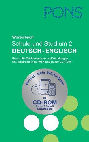 9783125175884: PONS Wörterbuch für Schule und Studium 2 / Deutsch - Englisch: Rund 145.000 Stichwörter und Wendungen