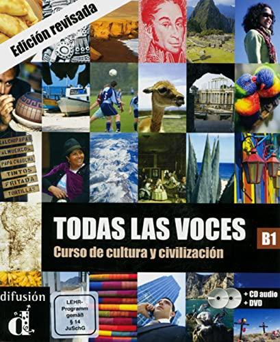 9783125269729: Todas las voces. Curso de cultura y civilizacion. Lehrbuch + Audio-CD + DVD