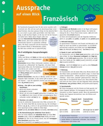 9783125608320: PONS Aussprache Franz�sisch auf einen Blick. RSR 2006