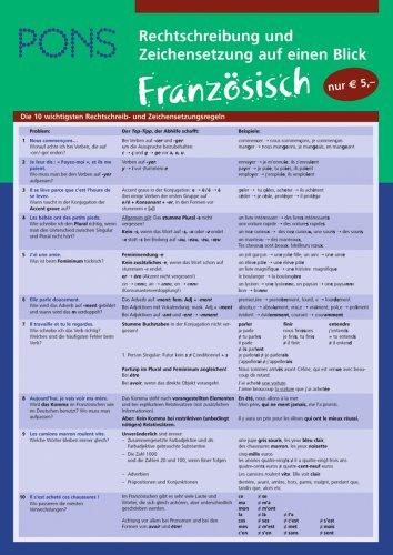 9783125612372: PONS Rechtschreibung und Zeichensetzung auf einen Blick Französisch: Französisch