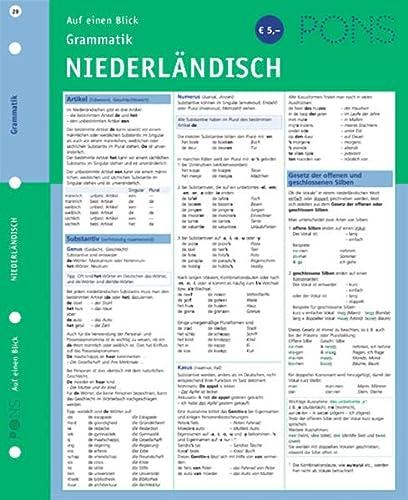9783125613041: PONS Grammatik auf einen Blick. Niederländisch