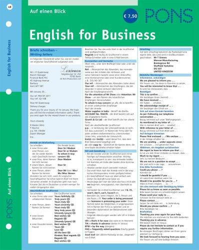 9783125614765: PONS English for Business auf einen Blick