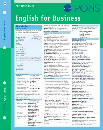 9783125614765: PONS English for Business auf einen Blick